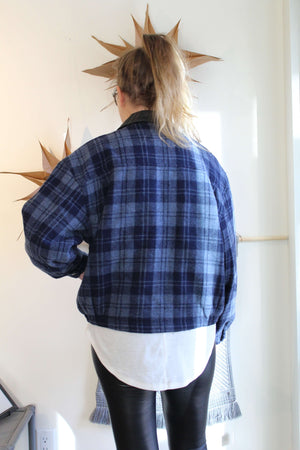 Blue Plaid Wool Bomber Jacket