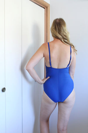 elizabeth o. vintage - Blue Striped One Piece Swimsuit