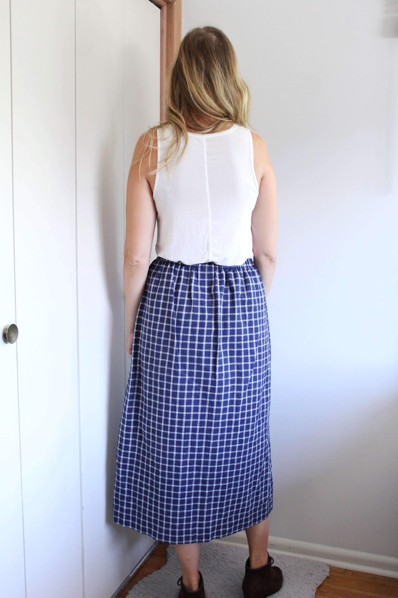 elizabeth o. vintage - Blue and White Plaid Skirt