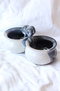 Blue and Cream Double Bowl Pottery