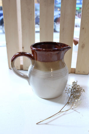 Brown and Cream Ceramic Small Pitcher