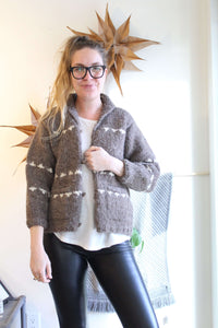 Brown with Cream Spots Cowichan Cardigan