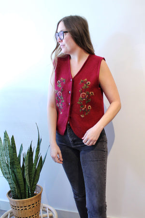 Burgundy Embroidered Flowers Vest