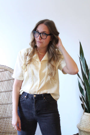 Butter Yellow Embroidered Short Sleeve Buttondown Shirt