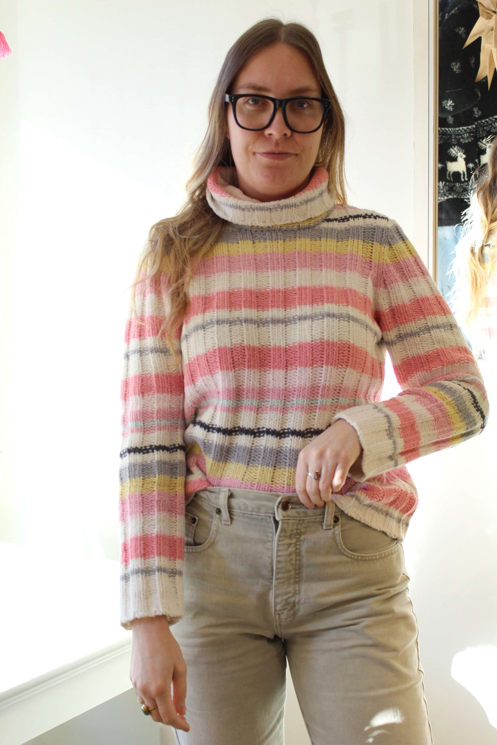 Chenille Pastel Striped Sweater