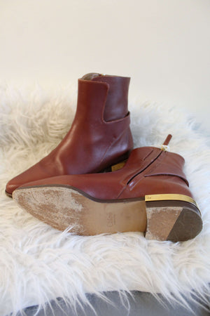 Chloe Brown Leather Ankle Booties