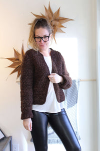 Chocolate Brown Knit Open Cardigan