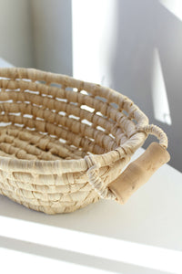 Coil Basket with Wood Handles