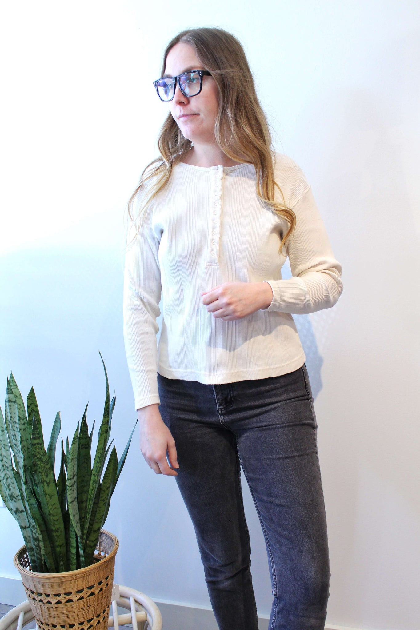 Cream Ribbed Henley Shirt