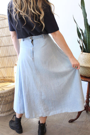 Denim Maxi Skirt with Gold Embroidery