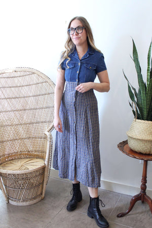 Denim and Plaid Maxi Dress