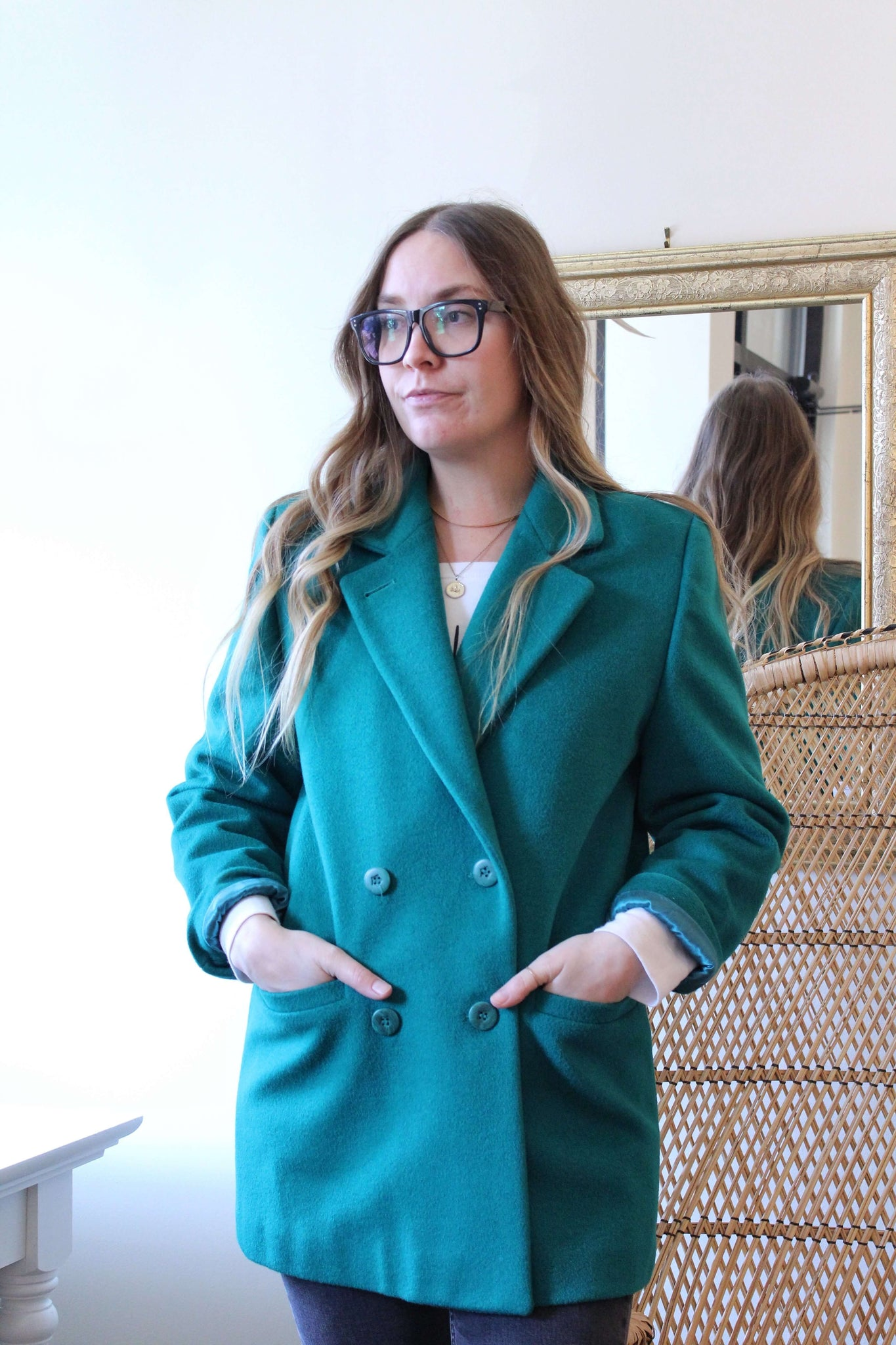 Emerald Green Wool Coat