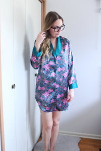 Floral Satin Night Shirt - elizabeth o. vintage