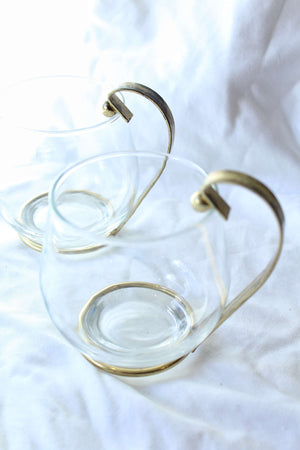 Glasses with Gold Handle Set of 2