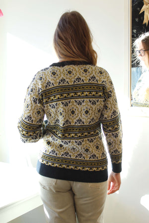 Gold and Black Fair Isle Sweater