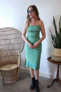 Green Sari Inspired Slip Dress