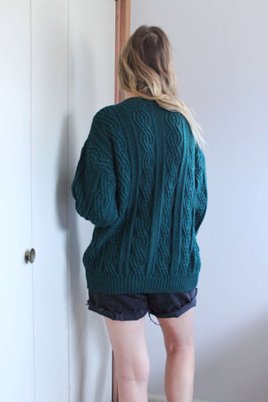 Green Cable Knit Cardigan - elizabeth o. vintage