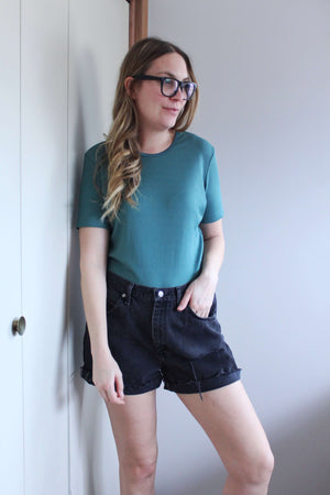 Green Ribbed Top - elizabeth o. vintage