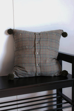 elizabeth o. vintage - Green Checkered Pompom Pillow