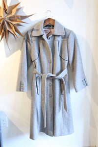 Grey Wool Coat with Pink Lining