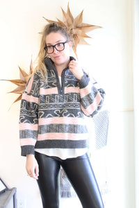 Grey and Pink Quarter Zip Wool Sweater