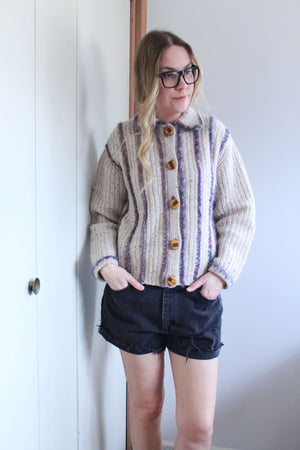 Hand Knit Cardigan with Purple Stripes - elizabeth o. vintage