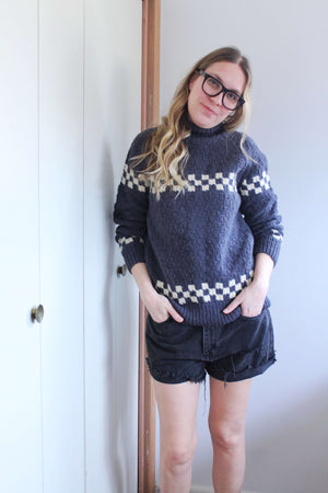 Handknit Turtleneck Wool Sweater - elizabeth o. vintage