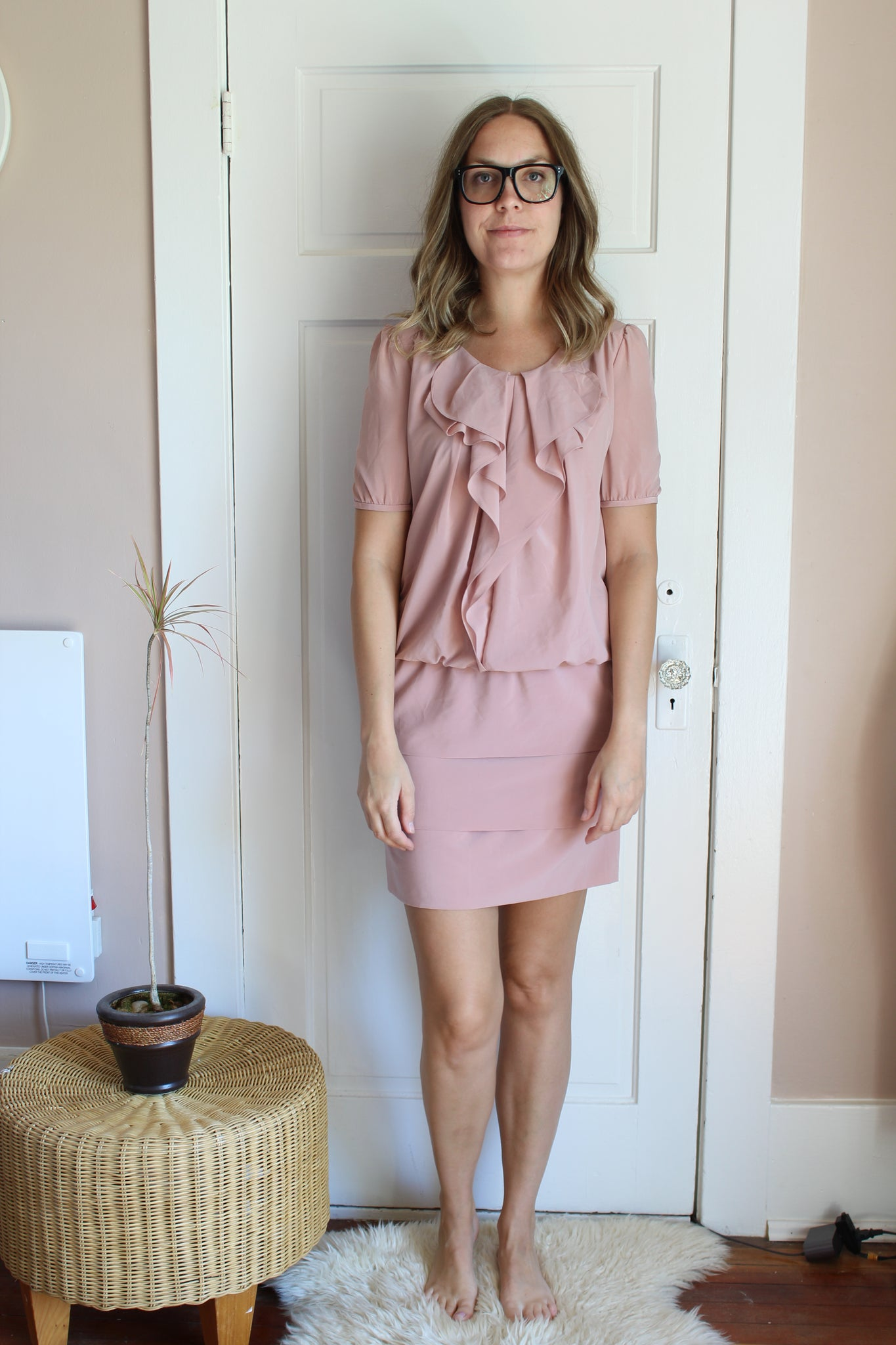 elizabeth o. vintage - Ruffled Blush Dress