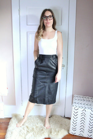 elizabeth o. vintage - Leather Pencil Skirt