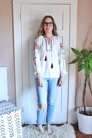 elizabeth o. vintage - Embroidered Peasant Top