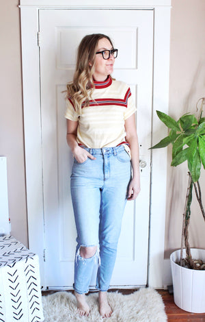 elizabeth o. vintage - Striped Mock Neck Top