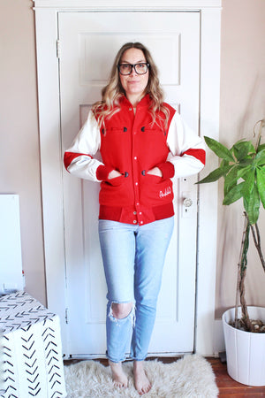 elizabeth o. vintage - Red and White Letterman Jacket
