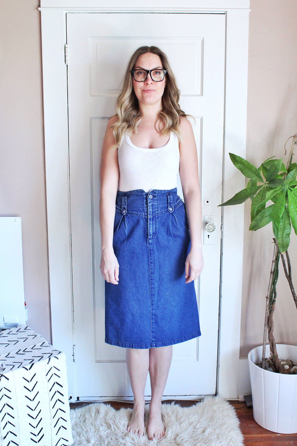 elizabeth o. vintage - HIgh Waisted Denim Skirt