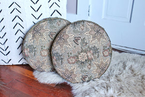 elizabeth o. vintage - Floral & Gold Round Pillows