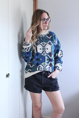 Knit Hexagon Print Sweater - elizabeth o. vintage