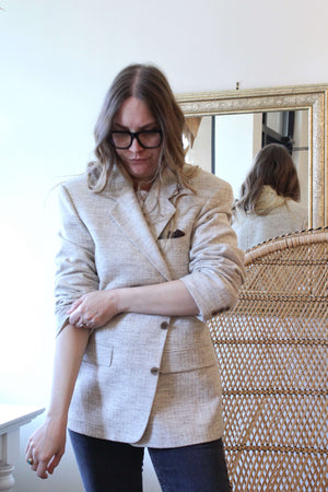 Light Beige Tweed Blazer