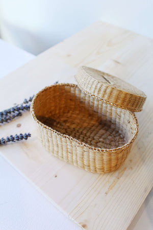 Little Woven Bin with Lid