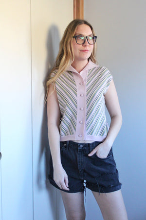 elizabeth o. vintage - Mauve Striped Vest Top