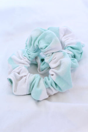 Mint Bleach Tie Dye Scrunchie