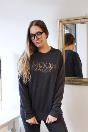 Moon Child Extra Long Cozy Crew Dark Grey