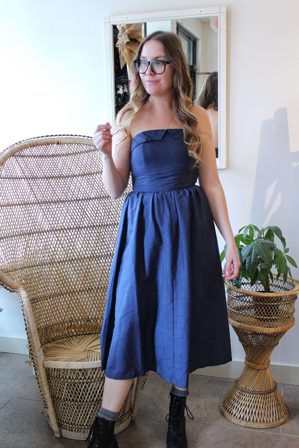 Navy Strapless Dress with Boning Bodice