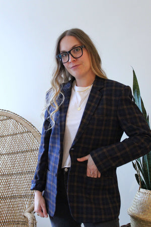 Navy and Brown Plaid Blazer