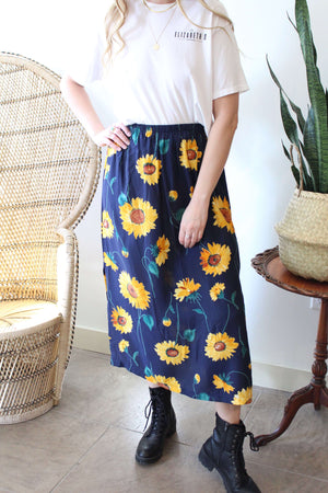 Navy with Sunflowers Midi Skirt
