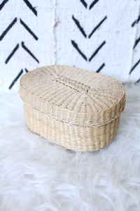 Oval Wicker Box with Lid - elizabeth o. vintage