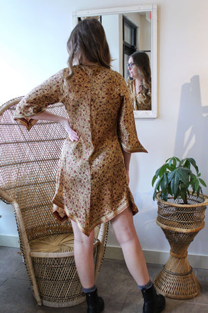 Paisley Gold Bias Cut Satiny Dress