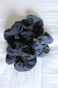 Black Vintage Denim Scrunchie