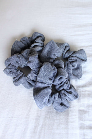 Faded Black Vintage Denim Schrunchie