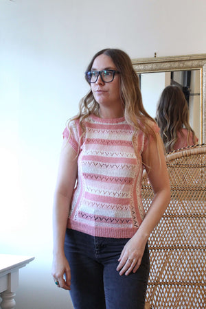 Pink and Light Pink Short Sleeved Knit Top