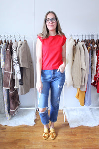 elizabeth o. vintage - Pointelle Red Sleeveless Sweater