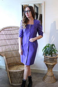 Vintage Purple Square Neck Dress